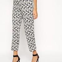 ASOS Cigarette Pants in Textured Floral
