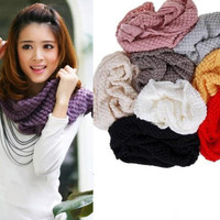 Women Lovely Knitting Wool Bubble Corn Dot Circle Scarf Warm Neckerchief Shawl O