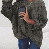 Dark Grey Oversized Long Sleeve Knitwear Pullover Sweater