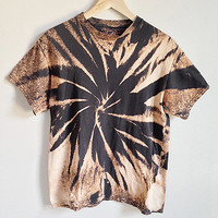 90s Grunge Acid Bleached T Shirt -- Black Tie Dye Shirt -- Vintage Cotton Tee -- Thin & Faded -- Unisex - Size Small