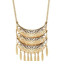 Gold Cut-Out Crescent Fringe Necklace by Charlotte Russe
