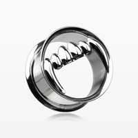 zzz-A Pair of Vicious Fang Hollow Steel Double Flared Ear Gauge Plug