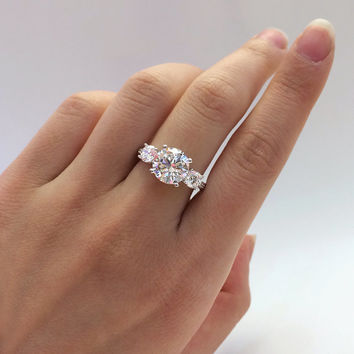 3.16 ct.tw Engagement Ring-Brilliant Cut Diamond Simulants-3-Stones-Anniversary Ring-Bridal Ring-Promise Ring-925 Sterling Silver-R72751