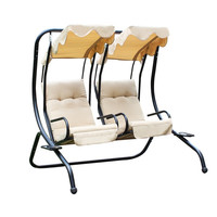 Furnistars Double Swing Chairs with Frame / Canopy / Cupholder - Tan -  !