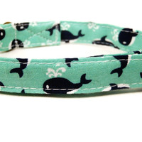 Whale Watching - Organic Cotton CAT Collar Mint Navy Blue Whales Nautical - All Antique Brass Hardware