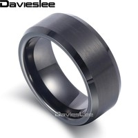 Men's Black Tungsten Carbide Brushed  Wedding Band