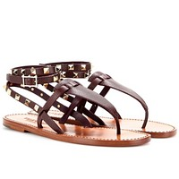 Valentino Studded Double Leather Sandals