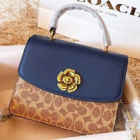 Samplefine2 COACH Fashion New Pattern Leather Shopping Leisure Handbag Shoulder Bag Crossbody Bag Blue
