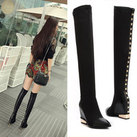 Real Leather Wedge Toe Over The Knee Stretch Slip On Tall Boots