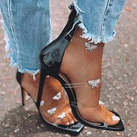 Rhinestone Butterfly Banquet High-heeled shoes with a transparent heel Sandals and women's shoes black