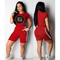 FENDI Summer Women Casual Short Sleeve Top Shorts Set Two-Piece Sportswear Black