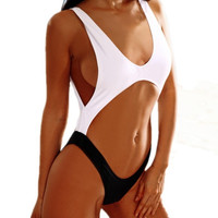 Women Sexy Black white Strapy Hole Splicing Bikini Push-up Swimsuit Swimwear Bathing suit 1PCS = 1956418244