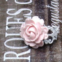 White Vintage Ring And A Pale Pink Rose by roomofyourown on Etsy