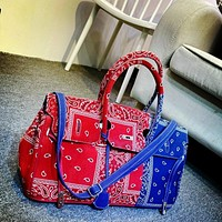 Women Fashion Color-Block Bandanna Print Handbag Purse
