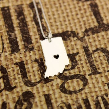 Indiana State necklace Indiana necklace sterling silver Indianapolis necklace with heart comes with Box style chain
