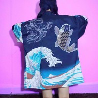 Blue Waves Kimono Cardigan from MILK CLUB