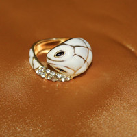 White Wrap Around Snake Ring on Gold Band. Great Gift! Fashionable!