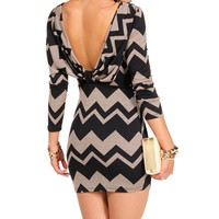 Navy Zig Zag Cowl Back Dress