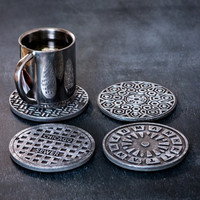 Set of 4 coasters Manhole covers USA coolest and original perfect gift wedding housewarming housewife FREE SHIPPING