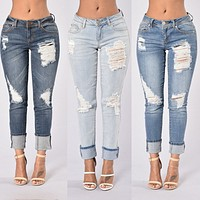 BellFlower Hole Sexy Woman	Jeans Pant Femme Low Waist Ankle Length Cowboy Women Jeans Ripped Jeans