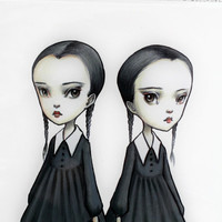 Tuesday and Wednesday Addams - The Addams Twins -  8x10 Limited Edition Signed Art Print - by Mab Graves-unframed