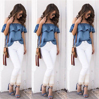 Vintage Off Shoulder Tops Casual Party Jeans Shirt