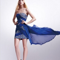 AB7001 Jeweled Short Cocktail Homecoming Dress Wrapped in Chiffon