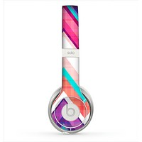 The Vibrant Pink & Blue Chevron Pattern Skin for the Beats by Dre Solo 2 Headphones