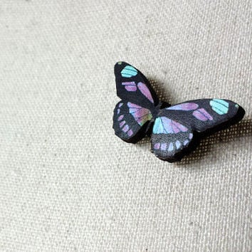 Tiny Retro Natural History Butterfly  Wooden Brooch / Vintage Butterfly Illustration - Handmade Laser Cutted Vintage Pin Brooch - Rustic