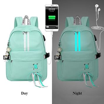 Fashion Anti Theft Reflective Waterproof Women GREEN Backpack USB Charge School Bags For Girls Travel Laptop Rucksack Bookbags FREE SHIPPING