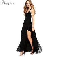 Sexy Black Party Dress Maxi  V-Neck Spaghetti Straps Open Back High Slit Womens Floor-Length Dress AJ0529