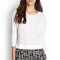 FOREVER 21 Open-Knit Dolman Top White