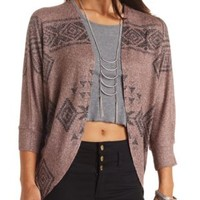 Aztec Print Cocoon Cardigan by Charlotte Russe - Taupe
