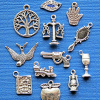 Divergent Charm Collection Antique Tibetan Silver  12 Different Charms Book Inspired - COL132
