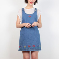 Vintage Overalls Dress 1990s Dress Blue Denim Daisy Floral Jumper Dress 90s Dress Mini Dress Blue Dungarees Soft Grunge Pinafore S Small M