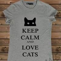 Women's Tshirt, Gray  Keep Calm  And Cat  on a Bike Ladies Tank,Screen Printing T shirt,Women's T shirt,Gray T shirt,Size S, M, L