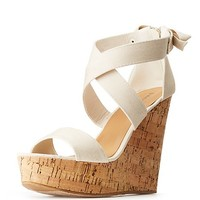Bamboo Cork Wedge Sandals | Charlotte Russe