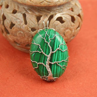Malachite silver-plated wire Tree of Life pendant, green tree pendant, Christmas tree pendant, Yggdrasil, World Tree pendant