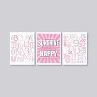 You Are My Sunshine Wall art, Pink and Gray, Baby Shower gift, Nursery Wall Art, decor, Playroom, Alphabet poster, Kids Wall Art