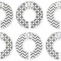 Baby Closet Dividers Ranged Months: Gender Neutral; Nursery Clothes Rack Rod Dividers; Infant Clothes Hanger Organizer; Newborn Boys and Girls Organization; Gray Chevron; Set of 6 Clothing...