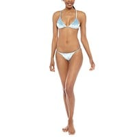Star Gazer Velvet Triangle Bikini Top - Sea Mist Blue