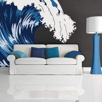 Graphic Vinyl Wall Decal Blue Ocean Wave #MCrespo105