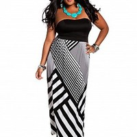 Ashley Stewart: Corset Tube Striped Maxi