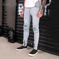 Gersri New Men Skinny Jeans Slim Stretch Jeans Fashion Hip Hop Ripped Jeans For Men Denim Casual Pants