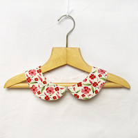Red, Pink Flowers Peter Pan Collar, White Necklace Floral Detachable