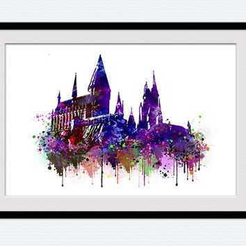Hogwarts poster, Hogwarts watercolor print, Harry Potter, castle, fantasy, colorful, silhouette, nursery, kids room, wall art, abstract, W67