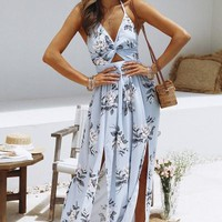 Women Split Dress with Strap Fashion Summer Beach Holiday Long Printed Dresses Casual Vacation Womens Hollow Out Dress