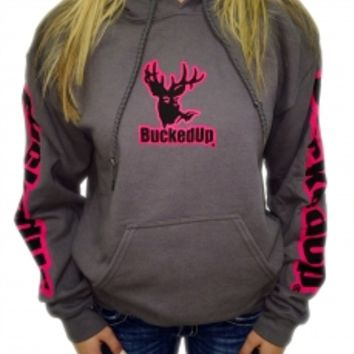 Pullover Hoodie - Charcoal Grey with Pink LogoPurchase