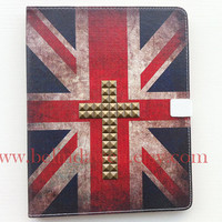 Ipad Case, Vintage England Flags ipad leather case with Bronze studs, Vintage Flags studded ipad case