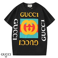 GUCCI New fashion letter stripe print couple top t-shirt Black